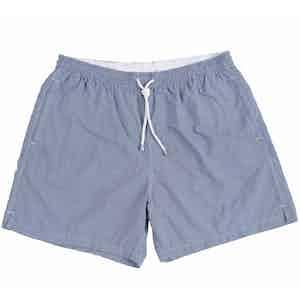 Navy And White Checkered Swim Shorts