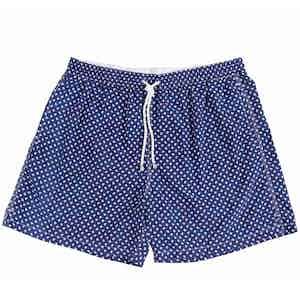 Navy Miniature Paisley Print Swim Shorts