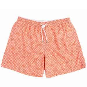 Orange Miniature Paisley Print Swim Shorts