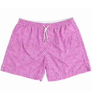 Pink Miniature Paisley Print Swim Shorts