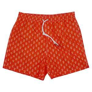 Pineapple Print Orange Swim Shorts