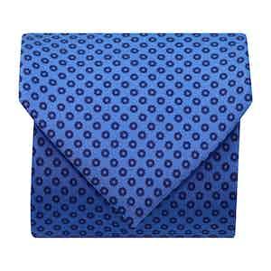 Flower-Dot Silk Printed Tie Blue