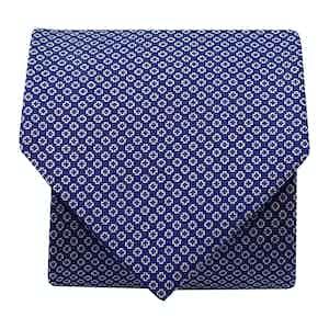 Mini-Foral Silk Printed Tie Navy/ White