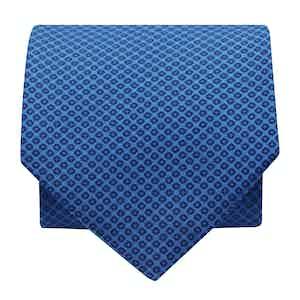 Mini-Foral Silk Printed Tie Sky/Navy