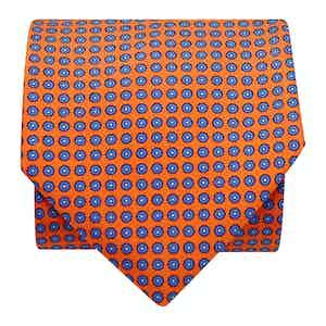 Floral-Dot Silk Printed Tie Orange