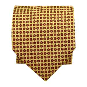 Floral-Dot Silk Printed Tie Yellow
