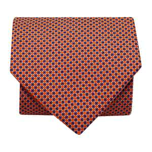 Mini-Square Silk Printed Tie Orange