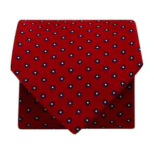 Mini-Flower Silk Woven Tie Red