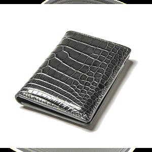 Dark Grey Alligator Bifold Card Holder No. 8