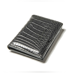 Dark Grey Alligator Bifold Card Holder No. 8