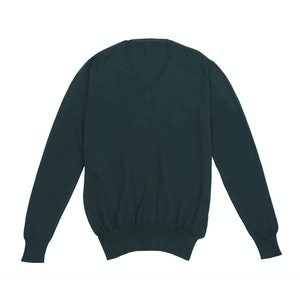 Green Long Sleeve V-neck Cashmere Sweater