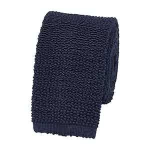 Navy Textured Silk-Knit Tie