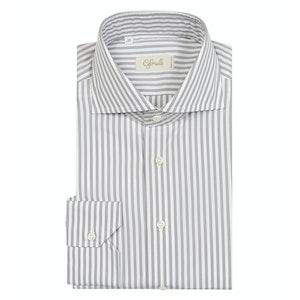 Grey Striped Cotton Spread Collar Shirt