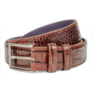 Tan Crocodile-Effect Leather Belt