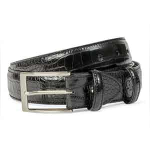 Black Crocodile-Effect Leather Belt