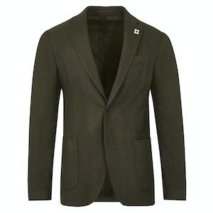 Green Wool Easy-Wear Single-Breasted Jacket