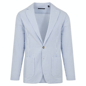 Light Blue Seersucker Cotton Lightweight Single-Breasted Jacket