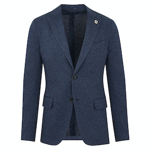Blue Cotton Jersey Unlined Single-Breasted Jacket