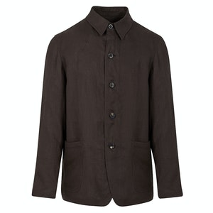 Brown Linen Lightweight Shirt Jacket