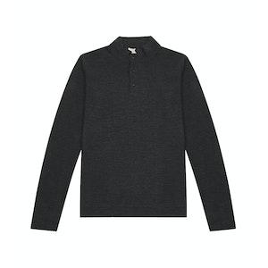 Grey Merino Long-Sleeve More Polo