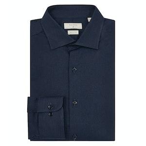 Navy Cotton Slim-Cut Stretch Clamenc Shirt