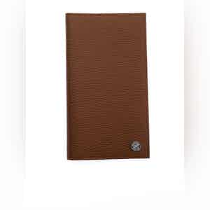 Brown and Cream Two-Tone Leather Tall Card Wallet