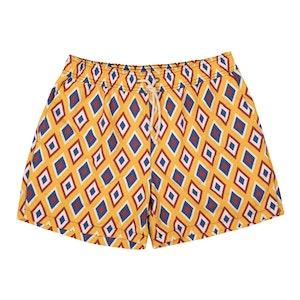 Yellow Camogli-Print Swim Shorts