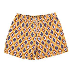 Yellow Camogli-Print Swim Shorts