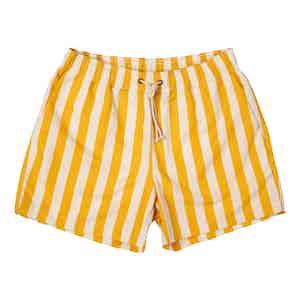 Yellow Paraggi-Print Swim Shorts