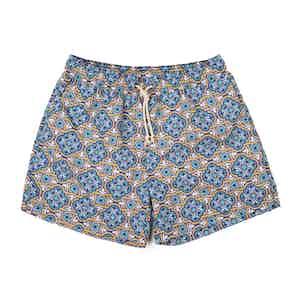 Blue Panarea-Print Swim Shorts