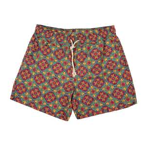 Green Pantelleria-Print Swim Shorts