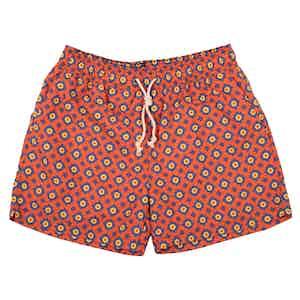 Red Ravello-Print Swim Shorts