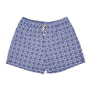 Blue Amalfi-Print Swim Shorts