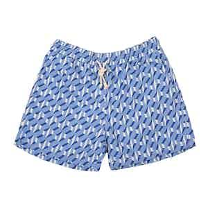 BLue Nettuno-Print Swim Shorts