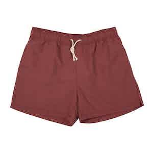 Red Brushed-Canvas Swim Shorts