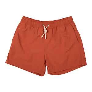 Orange Brushed-Canvas Swim Shorts