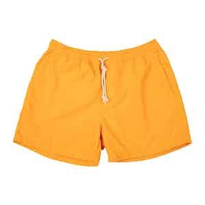 Yellow Brushed-Canvas Swim Shorts