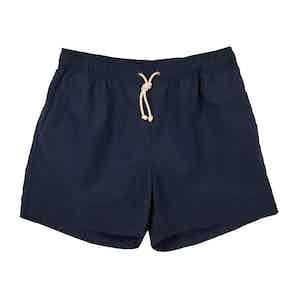 Blue Brushed-Canvas Swim Shorts
