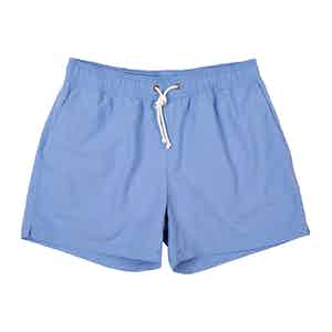Light Blue Brushed-Canvas Swim Shorts