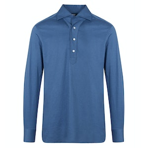 Blue Cotton and Linen-Jersey Polo Shirt