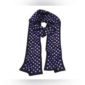 Black Silk Scarf with Polka Dots