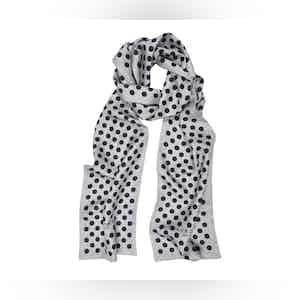Grey Silk Scarf with Black Polka Dots