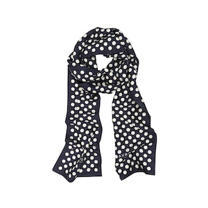 Navy Silk Scarf with White Polka Dots