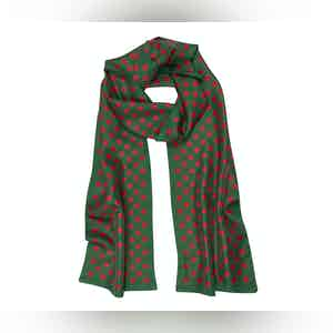 Green Silk Scarf with Red Polka Dots