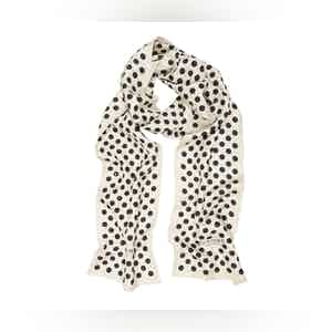 White Silk Scarf with Black Polka Dots