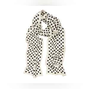 White Silk Scarf with Black Polka Dots