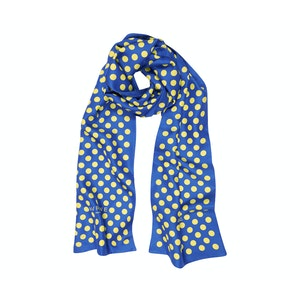 Blue Silk Scarf with Yellow Polka Dots