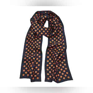 Navy Silk Scarf with Orange Polka Dots