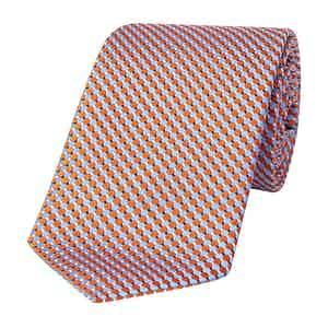 Blue and Orange Geometric Silk Tie