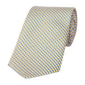 Blue and Yellow Geometric Silk Tie